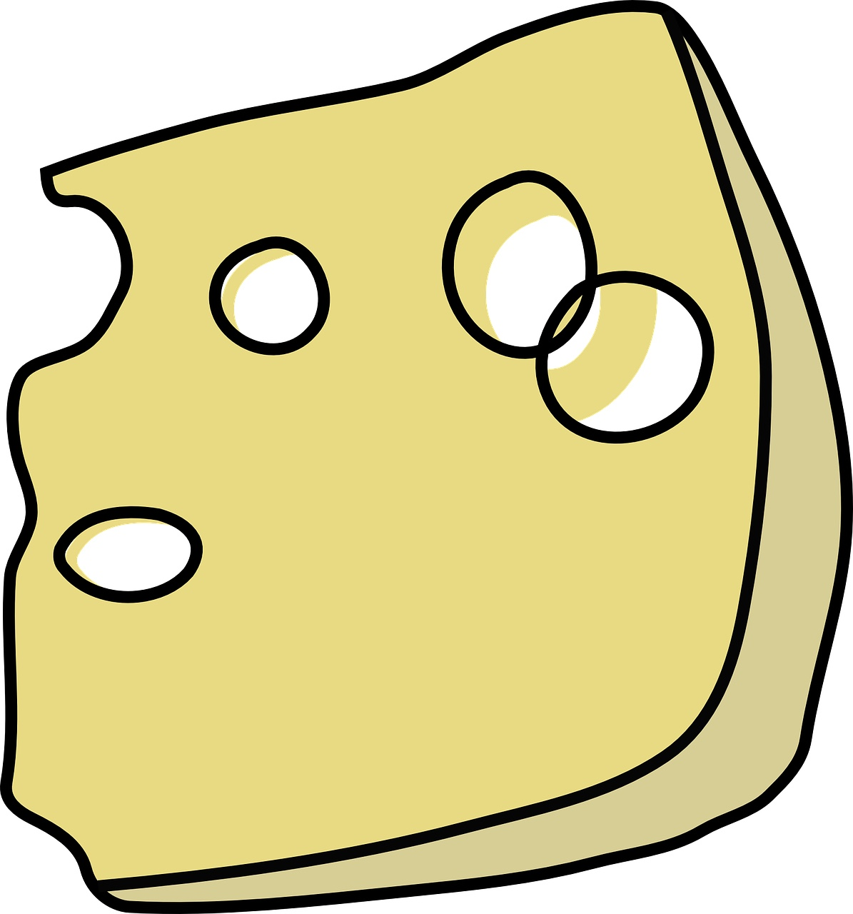 Image of a drawing of a wedge of Swiss cheese.