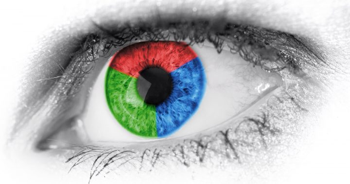 Close-up image of an eye with the pupil containing three colours: blue, red and green.