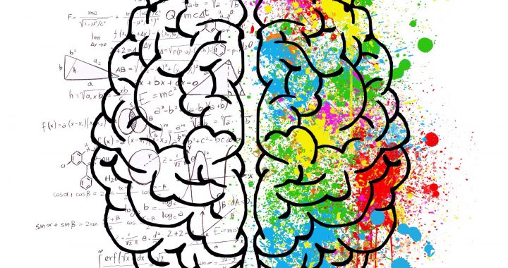 Image of a drawing of a brain. The left side is filled with equations and the right side with splattering colours.