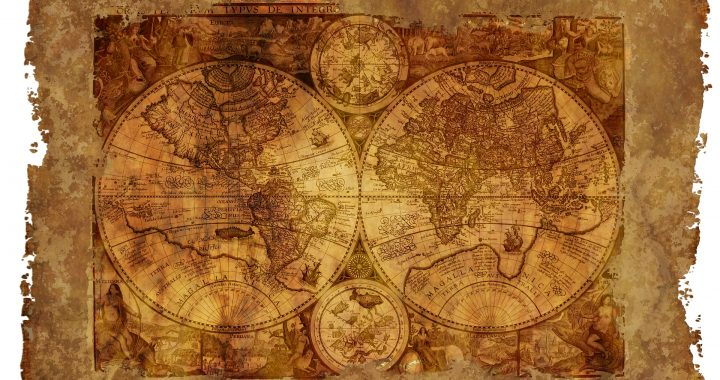 Image of an ancient map of the world on an old parchment.