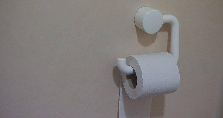 Image of a roll of toilet paper on a wall dispenser.